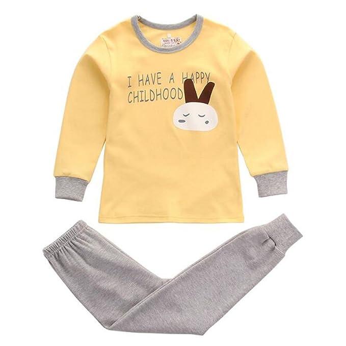 Hzjundasi Unisex Niños Chicos Chicas 2 piezas Conjunto de pijamas Algodón Kids Ropa Raya Prendas de