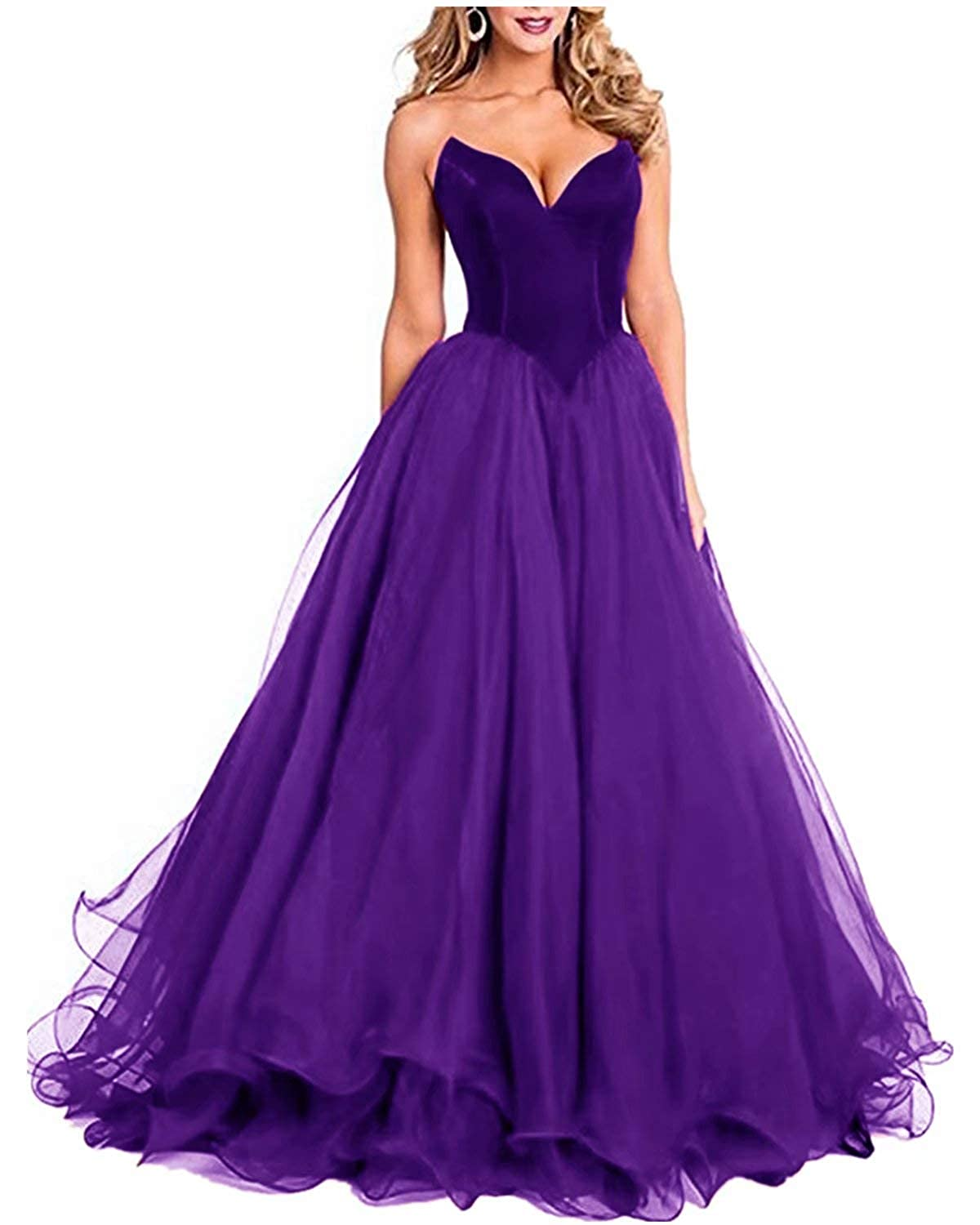 Purple Fankeshi Womens Sexy Sweetheart Long Prom Party Dresses A line Tulle Formal Evening Gowns