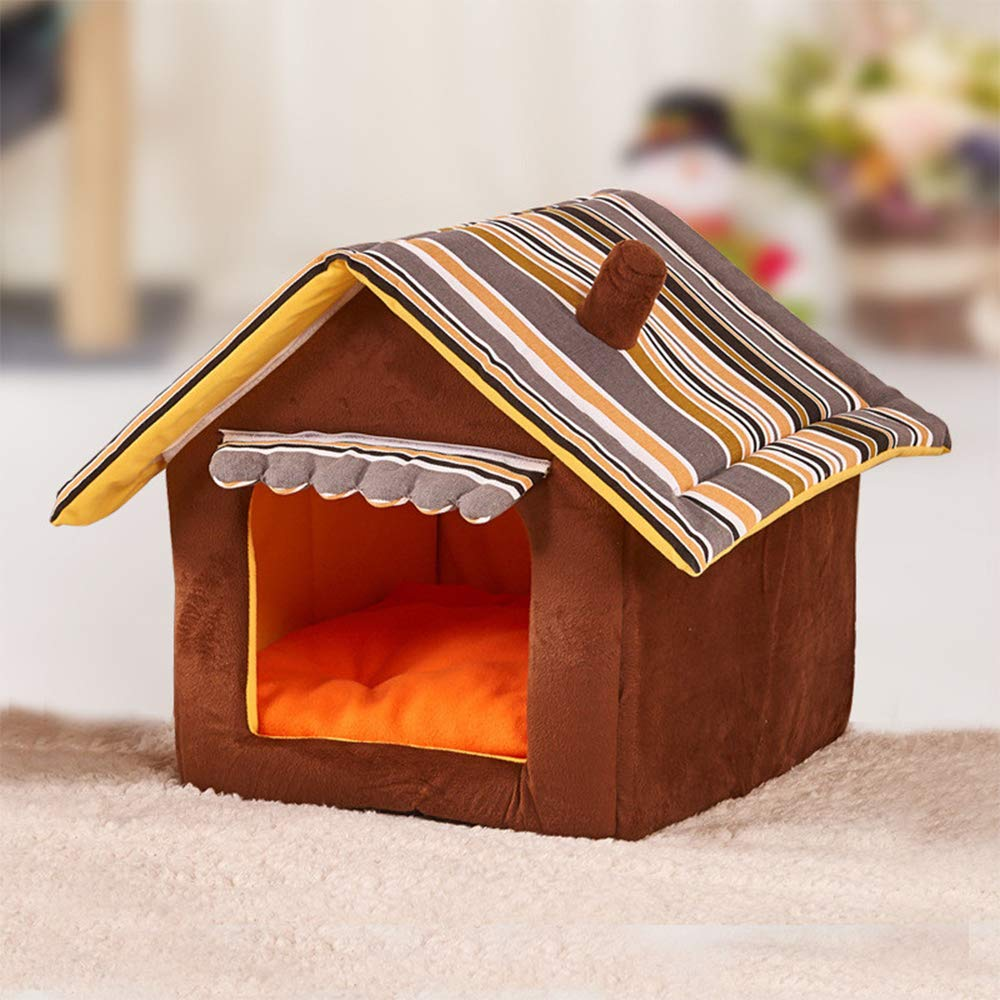 M GZQ Pet Bed Portable Kennels Removeable Dog Cat House Sleeping Mat Carpet Small Medium Dogs (M)