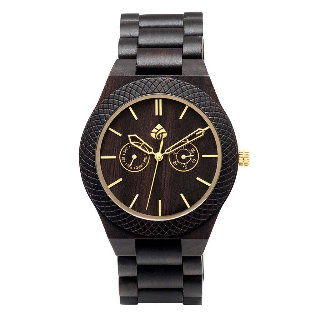 leafwood, la juglan tuerca oro, madera natural de color marrón oscuro de sándalo para hombre reloj de pulsera