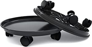"15.5"" Black Plant Caddy,2 Pack of Plant Pallet Caddy with Wheels, Round Flower Pot Mover, Indoor Rolling Planter Dolly on Wheels(2 Pack)"