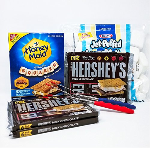 Deluxe Smores - Smores Campfire Deluxe Bundle Kit: 7 Items, Hershey's Chocolate Candy Bars, Honey Maid Graham Cracker Squares, Kraft Jet Puffed Square Marshmallows, 2 Extendable Roasting Sticks, Vacation Box Set