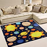ALAZA Cartoon Planet Solar System Sun Earth Area Rug Rugs for Living Room Bedroom 7' x 5'