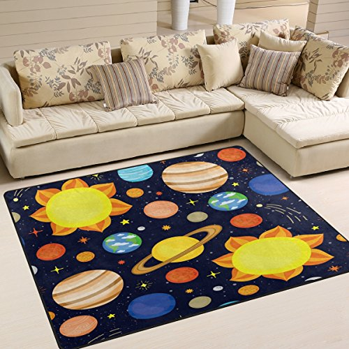 ALAZA Cartoon Planet Solar System Sun Earth Area Rug Rugs for Living Room Bedroom 7' x 5' by ALAZA