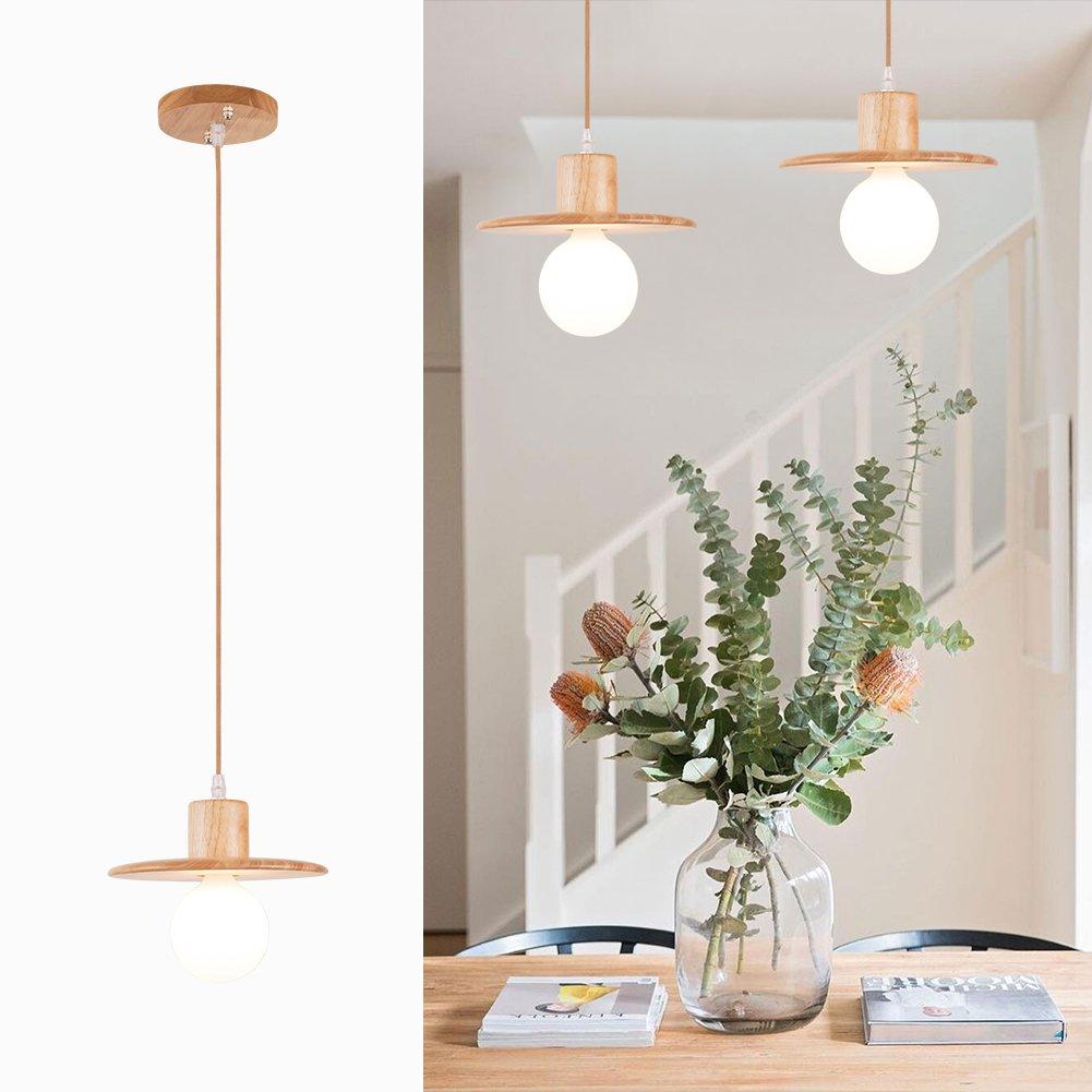 mingdaxin Modern Elegance Pendant Hanging Light Natural Wood Pendant Ceiling Lighting fixture with Hat Shape Base, Wood(1 Pack)