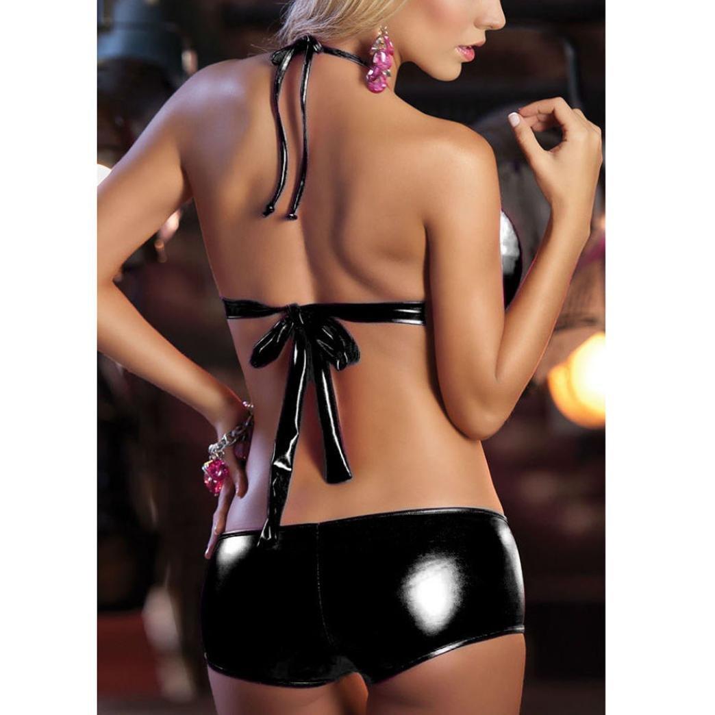 728dfd6a5f Amazon.com  Goddessvan Women Lingerie Leather Babydoll Bodysuit Club Underwear  Bra and Panty Set  Clothing