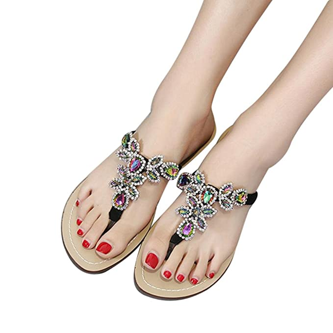 ad7961b2885 Amazon.com  BSGSH Summer Sandals for Women Bohemia Beaded Flip Flops Beach  Thong Flat Sandals Shoes  Clothing