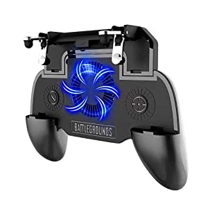 """Mobile Game Triggers-Mobile Game Controller with 4000mah Power Bank&Blue Light Cooling Fan for Fortnite PUBG - L1R1 Mobile Game Joystick Gamepad Grip for 4-6.5"""" Android and iOS"""