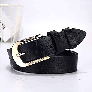Blady Women Smooth Genuine Cowskin Solid Color 1 Wide Pin Buckle Belt