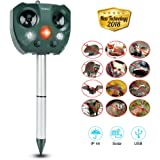 Yoleo 2018 New Fox Repellent Cat Repellent Solar Power Ultrasonic Animal Repeller, Battery Operated Outdoor Waterproof Cat Fox Dog Scarer Deterrent with 2 Speakers for Garden Yard Field Farm