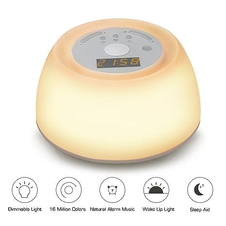 Luz de Noche Despertador Lámpara de Mesa VADIV WL02 con Funciones de Simulación de Amanecer y Luz de Diferentes Colores Posee 3 Niveles de Brillo 4 ...