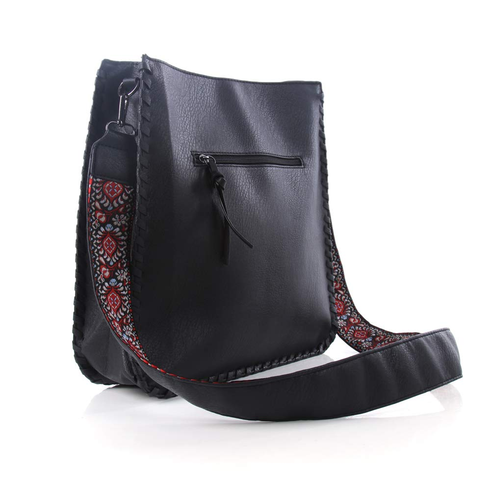 Warmhol PU Leather Vintage Messenger Bag Cross Body Bag Embroidery Knit Shoulder Gun Bags for Work Business