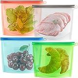 RabbitStorm Bolsa de Almacenamiento de Alimentos, Bolsa de Preservación Recipiente para, 4pcs Bolsas Silicon Reutilizables Gr