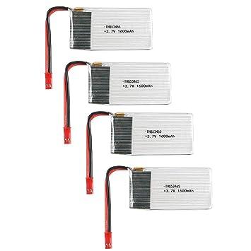 Lesiey 4PCS 3.7V 1600mAh 1S Lipo Batería JST Plug Recargable para ...