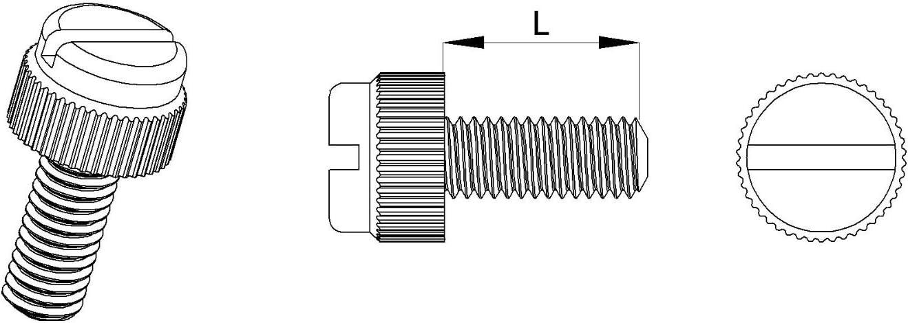 M4 Isolierend 20 St/ücke R/ändelschraube mit Schlitz Polyamid PA6.6 Plastik Nylon ajile L/änge = 20 mm