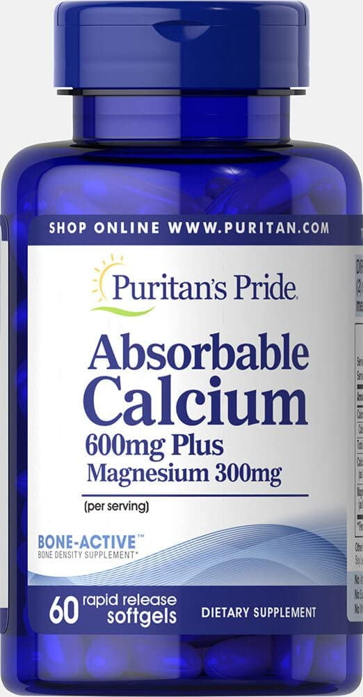Puritan's Pride Absorbable Calcium 600 mg Plus Magnesium 300 mg-60 Softgels