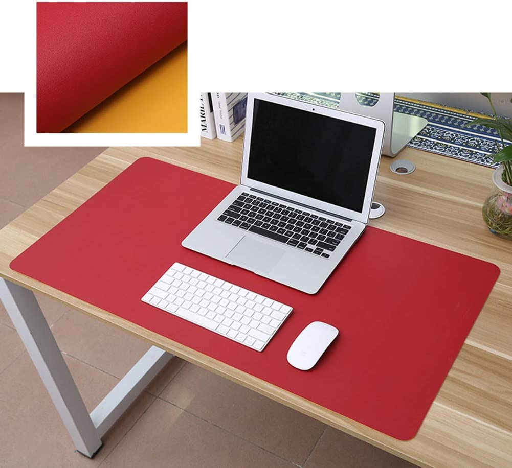 16x31inch JYMBK Pu Leather Desk Pad,Multifunctional Office Desk Mat,Printing Gaming Mouse Pad,Comfortable Extended Desk Writing Mat,Dual-Sided Mouse Mat Red Yellow 40x80cm