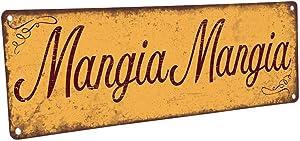 "Mangia Mangia Metal Sign, 4""x12"", Italian, Kitchen, Food, Eating, Kitchen Decor, Dining, Home Decor"
