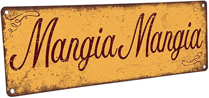 Script Recycled Steel Mangia Tutti Eat Sign Cursive Metal Word Mangia Sign Kitchen Sign| Dining Room Decor Mangia Metal Sign
