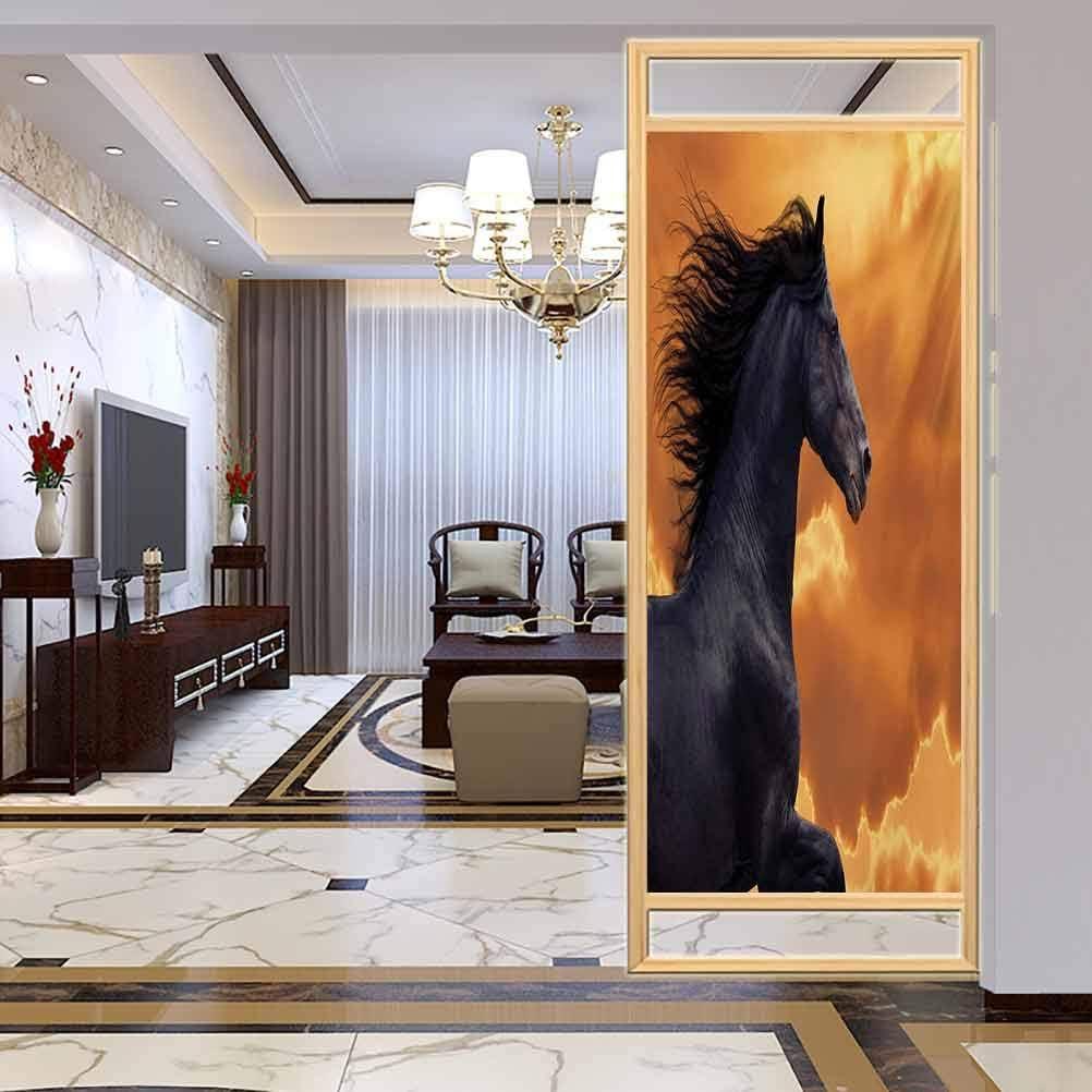 Película de privacidad para ventana helada, retrato de caballos de galopante caballo frisiano con Hot Su, película de vidrio para el baño de la reunión de sala de estar, W17.7 x H35.4 pulgadas