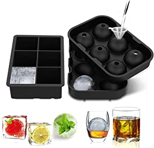 XIMSTAR BPA free square cocktail ice cube trays large round silicone sphere ball maker with lid reusable molds Set of 2 packs for Whiskey Cocktails (black)