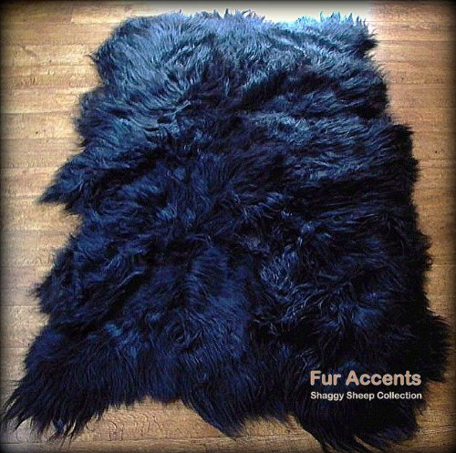 Fur Accents Shaggy Faux Sheepskin Area Rug / Jet Black / Long Hair / Soft Ultra Suede Back / Freeform Shape / 4