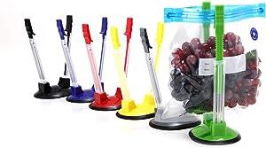 Baggy Rack Holder For Food Prep Bag/plastic Freezer Bag/Ziploc Bag Holder Stand,Sandwich Racks Holder, Meal Planning/prep Bag Holders (6 Pack With Different Color)