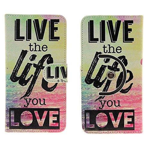 Case 360° Cover pour Smartphone Apple iPhone 7 Plus, 'live the life you love' | Fonction Stand Case Wallet BookStyle meilleur prix, la meilleure performance - K-S-Trade (TM)