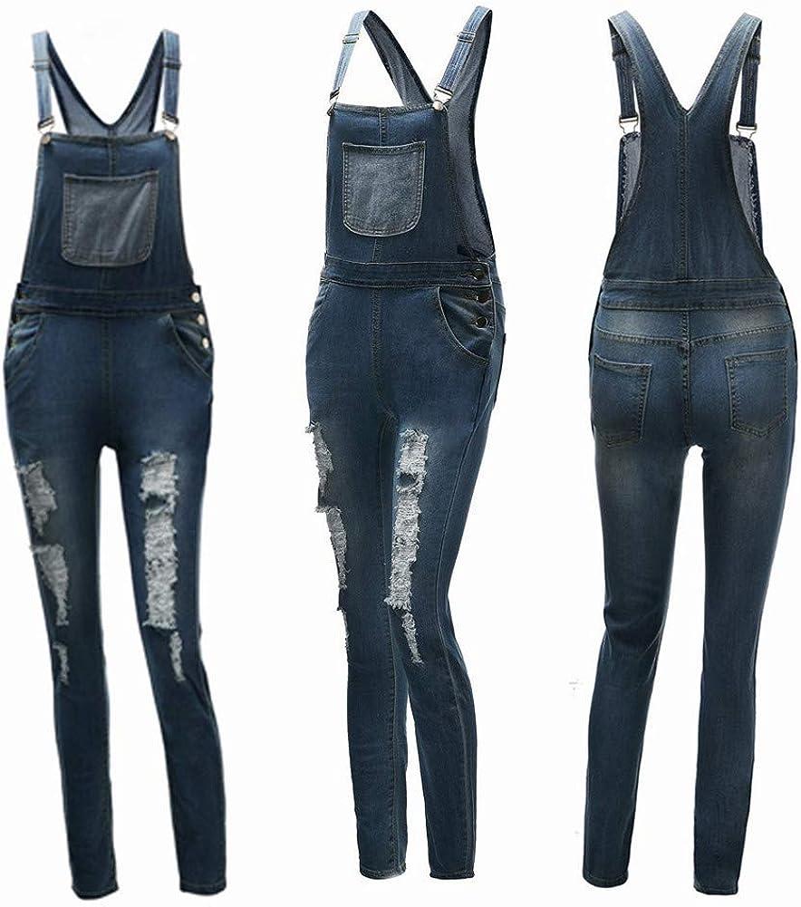 Donna Jeans Sciolto Overall Lunga Dungarees Tuta Denim Casual Pantaloni Bavaglino Jumpsuit Moda Hippie Cinturino Odot Salopette Pantaloni Ragazza