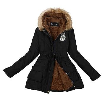 mujeres Abrigo largo de piel chaqueta con capucha caliente cuello Abrigo parka invierno (M, Negro): Amazon.es: Deportes y aire libre