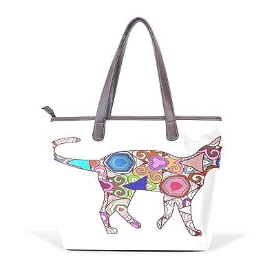44e4a4ca347 Amazon.com: Ye Store Siamese Cats Lady PU Leather Handbag Tote Bag Shoulder Bag  Shopping Bag: Shoes