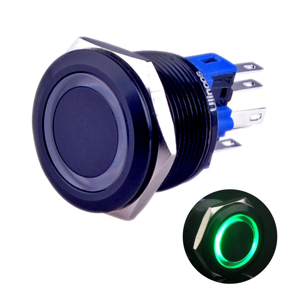 Ulincos Momentary Pushbutton Switch U22A1 1NO1NC Black Metal Shell with 12V Green LED Ring Suitable for 22mm 7/8'' Mounting Hole (Green)