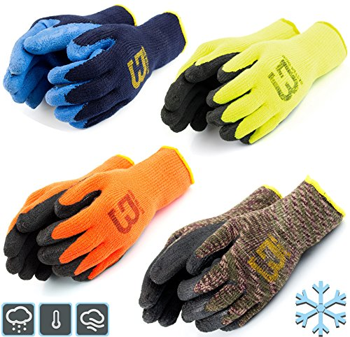 Better Grip BGWLAC Winter Insulated Rubber Latex Coated Work Gloves, Crinkle Pattern, 3 Pairs/ Pack (Large, Lime)