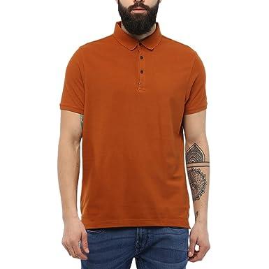 6201e63b blackberrys Men's Solid Regular Fit T-Shirt (UK-Peter:Burnt Gold_x-