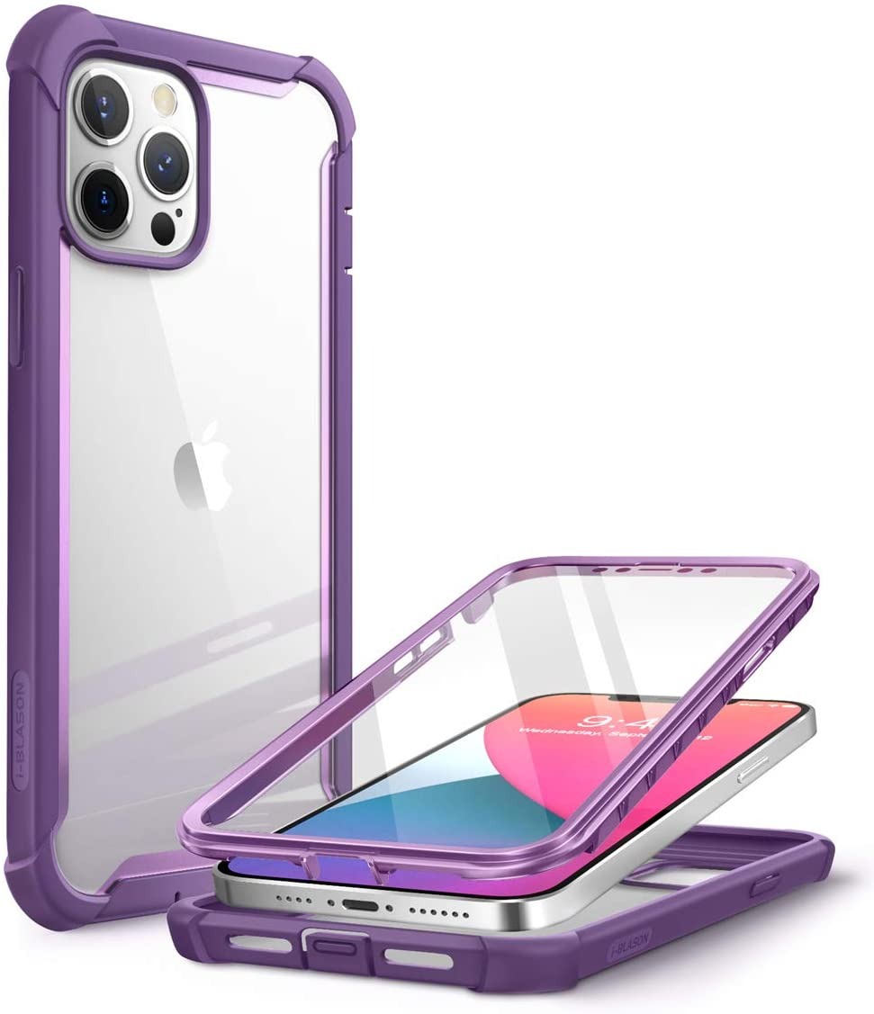 i-Blason Ares Case for iPhone 12 Pro Max 6.7 inch (2020 Release), Dual Layer Rugged Clear Bumper Case with Built-in Screen Protector (Purple)