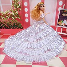 "Lanlan Gorgeous Multi-layer Sequined Bridal Wedding Dress Party Dress Princess Gown for 12"" Barbie Doll White"