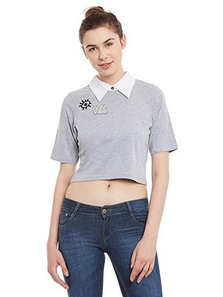 4fde021ce447da Miss Chase Womens Grey and White Collared Crop Top(MCSS17TP07-73-128 ...