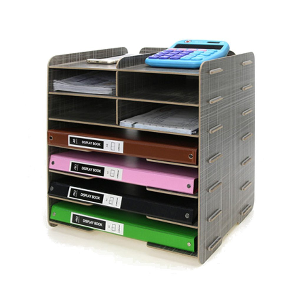 Menu Life Decorative Wooden File Cabinet Document Magazine Folder Holder A4 A5 Size Literature Sorter, Letter Tray 8 Slots (Gray)