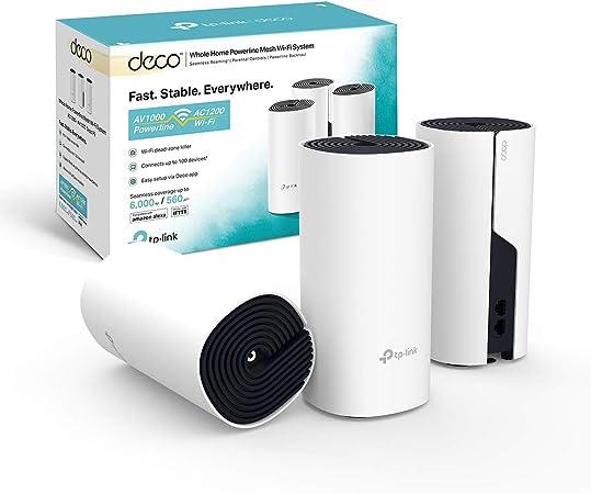 TP-Link Deco P9 (3-pack) - PLC Mesh Wi-Fi Híbrido con Powerline, adecuado para Casas Grandes con Paredes Gruesas, Powerline AV1000 + wifi AC1200, ...