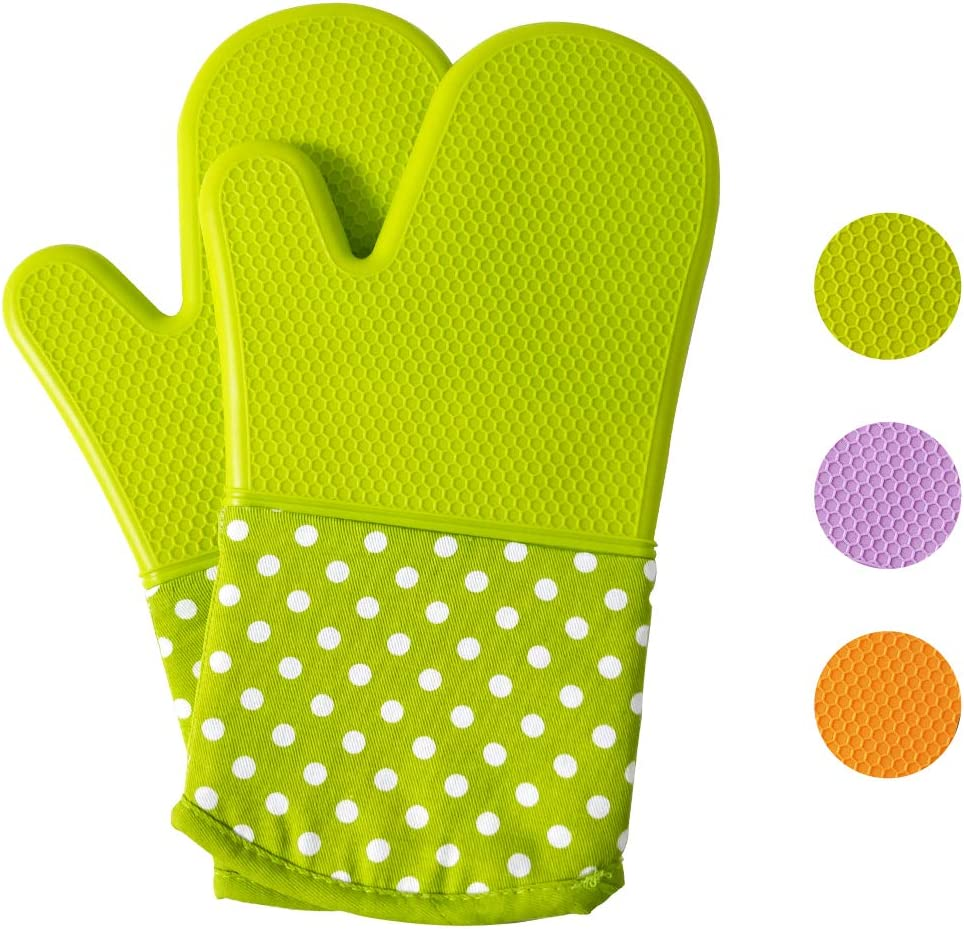 Generic Brands Extra Long Professional Heat Resistant Silicone Oven Mitt,Non-Slip Silicone Kitchen Gloves with Grip Soft Cotton Inner Lining for Baking, Cooking, BBQ, 1 Pair, 13 Inch (Green)