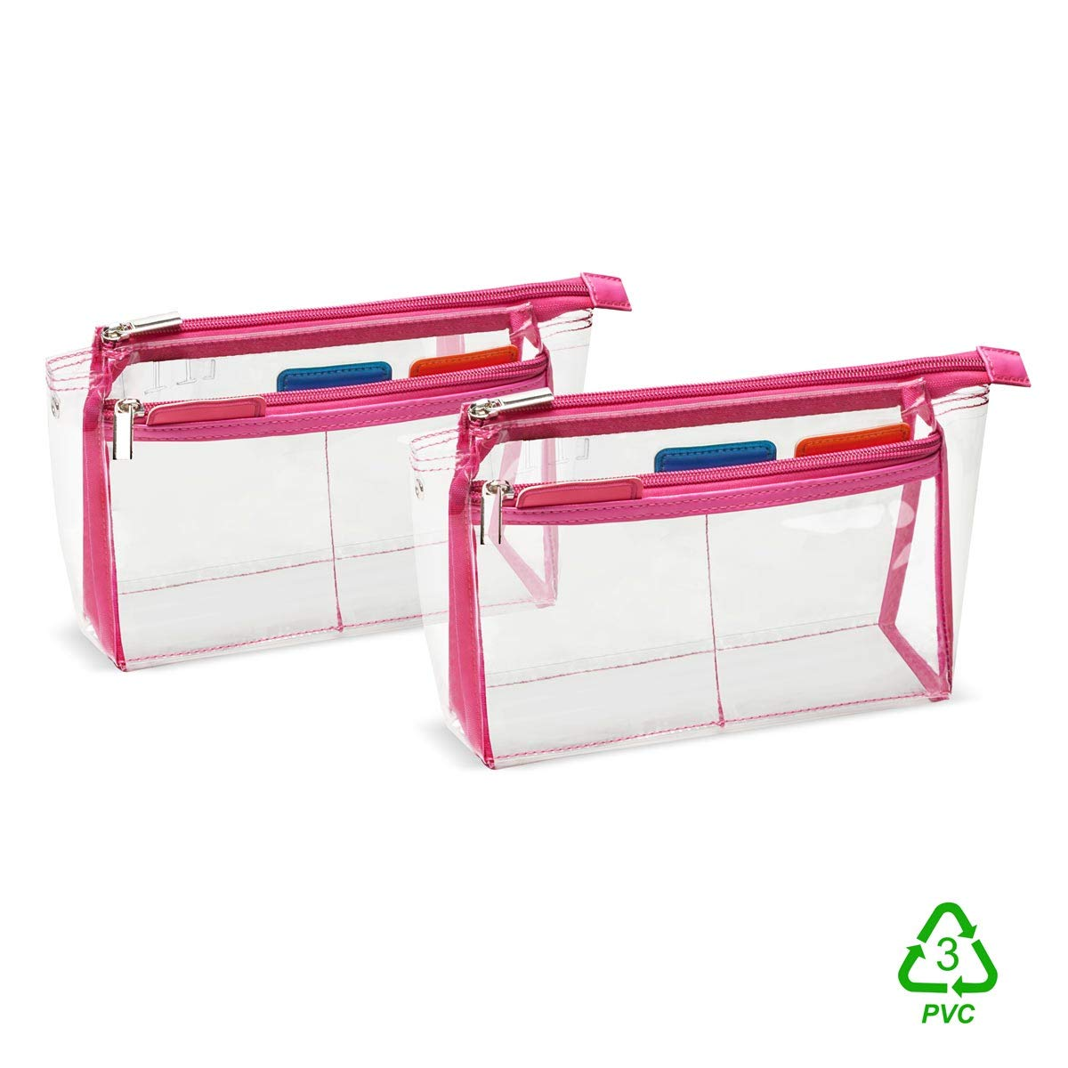 2pcs HereVGo TSA Approved Travel Makeup Toiletry Bag Quart size 3-1-1 Carry On Bag Packing Organizer Clear Luggage Zipper Bag Passport Wallet Holder Airport Airline Compliant Accessories