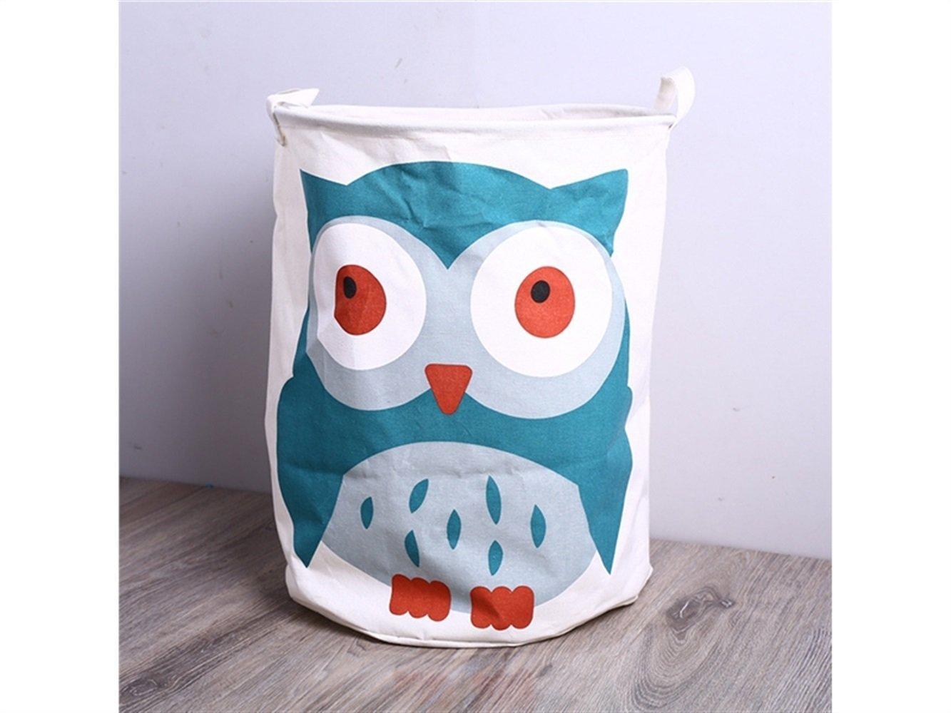 Gelaiken Lightweight Parrot Pattern Storage Bucket Cotton and Linen Bucket Cloth Storage Bucket Sundries Storage Laundry Bucket(White)