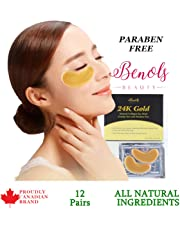 Benols Beauty 24K Gold Bio-Collagen Hydration Eye Mask (12 Pairs) - Power Crystal Under Eye Bags with Anti Ageing Collagen