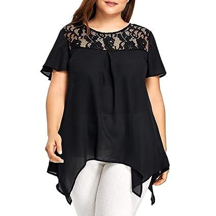 Camiseta mujer, Challeng Blusa con cuello en V de manga corta y flor de chifón