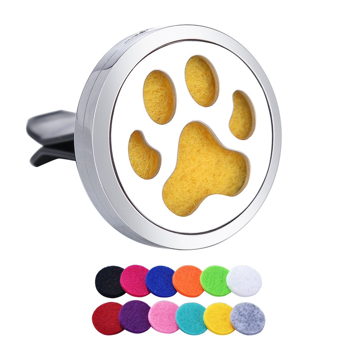 Dog Palm Aromatherapy Car Air Freshener Stainless Steel Essential Oil Diffuser Locket Car Vent Clip 12 Refill Pads Tornado TornadoNA0B00P7T6