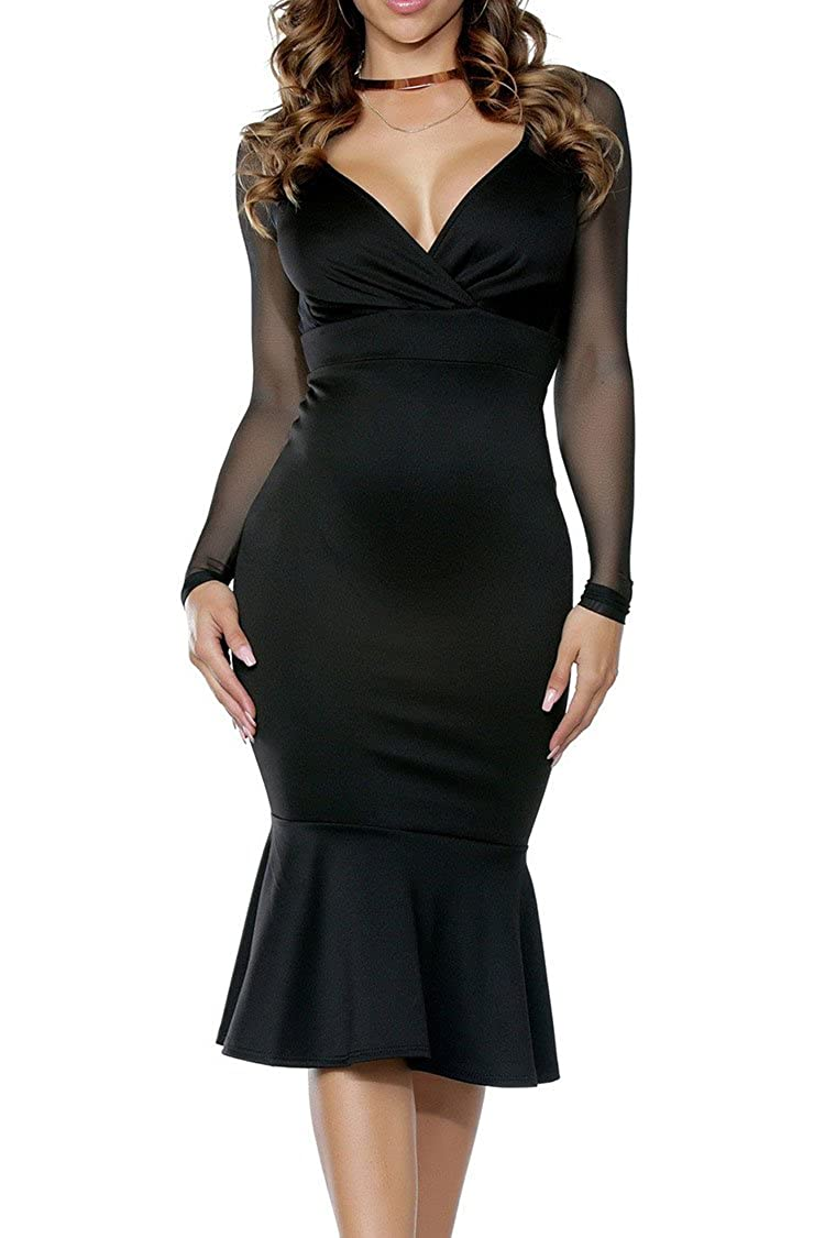 e60950c5d3 Features  Sexy Mesh Sleeves Splicing  Plunge V Neck  Ruched Front  High  Waisted Design  Concealed Side Zipper Closure Collocation  Pair with a  choker ...