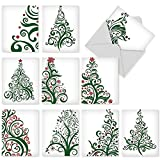 M5019 Just Fir You: 10 Assorted Christmas Note Cards Featuring Stylized, Fashionable Christmas-Tree Imagery, w/White Envelopes.
