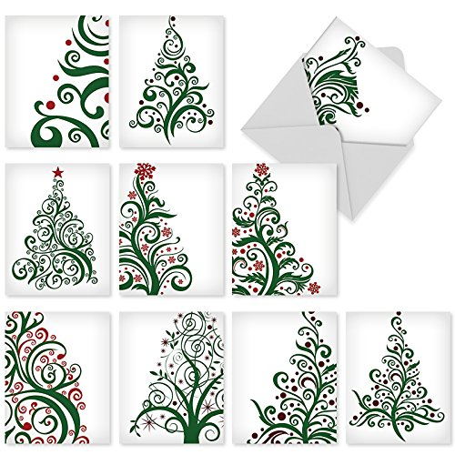 M6019 Just Fir You: 10 Assorted Blank Christmas Note Cards Featuring Stylized, Fashionable Christmas-Tree Imagery, w/White - Fashion Fir