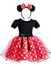 IWEMEK Toddler Baby Girl Princess Polka Dots Christmas Birthday Party Dress Cosplay Fancy Costume Bowknot Leotard Ballet Dance Tutu Dress up with 3D Mouse Ear Headband 6M-5Y