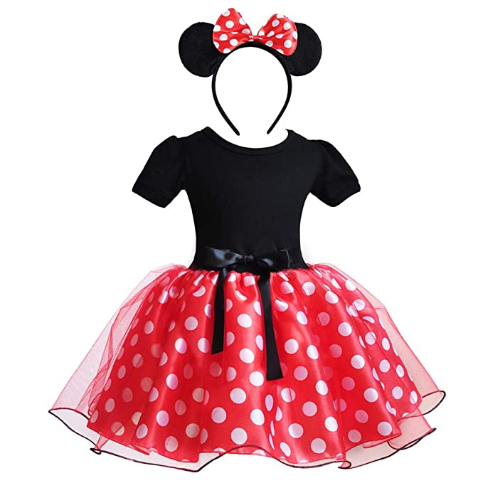 8165e6f78 Amazon.com: Baby Girl Polka Dot Cosplay Birthday Princess Dress up Fancy  Halloween Ballet Costume Dance Gown with Mouse Ear Headband: Clothing